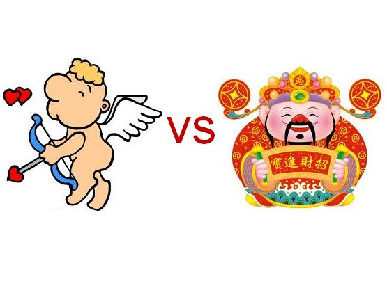 Chinese God of Wealth VS Western Valentine of Love