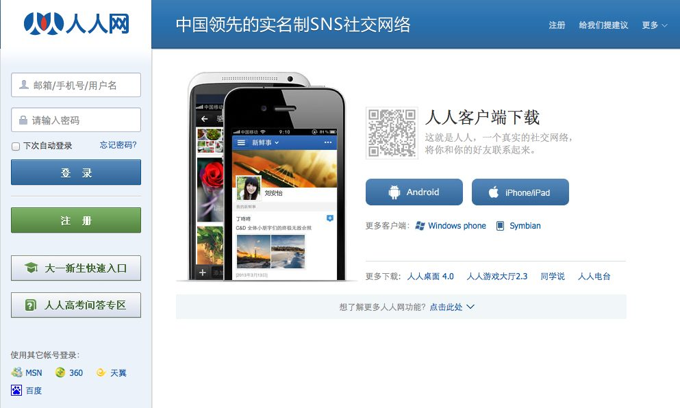 China's Social Network websites