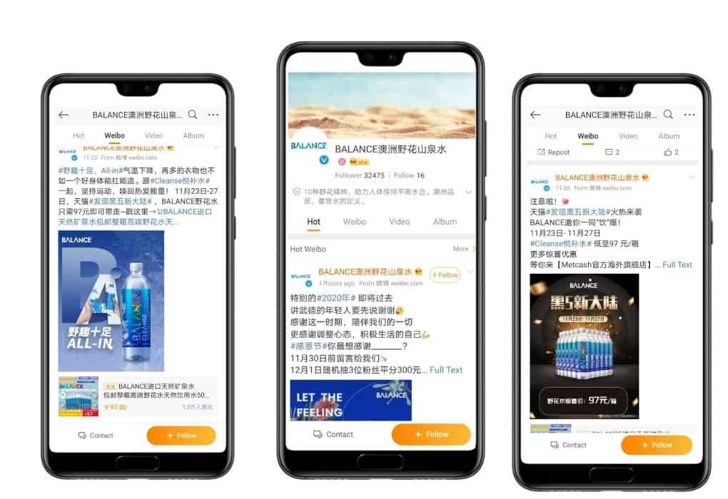 Sell Water China - Australian Water Brand Balance Weibo
