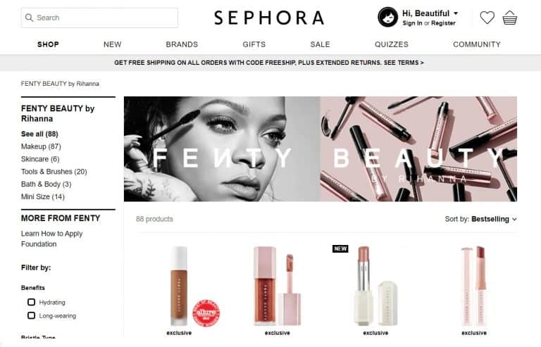 "Rihanna's ""Fenty Beauty"" debut on Sephora Tmall Global Flagship Store"