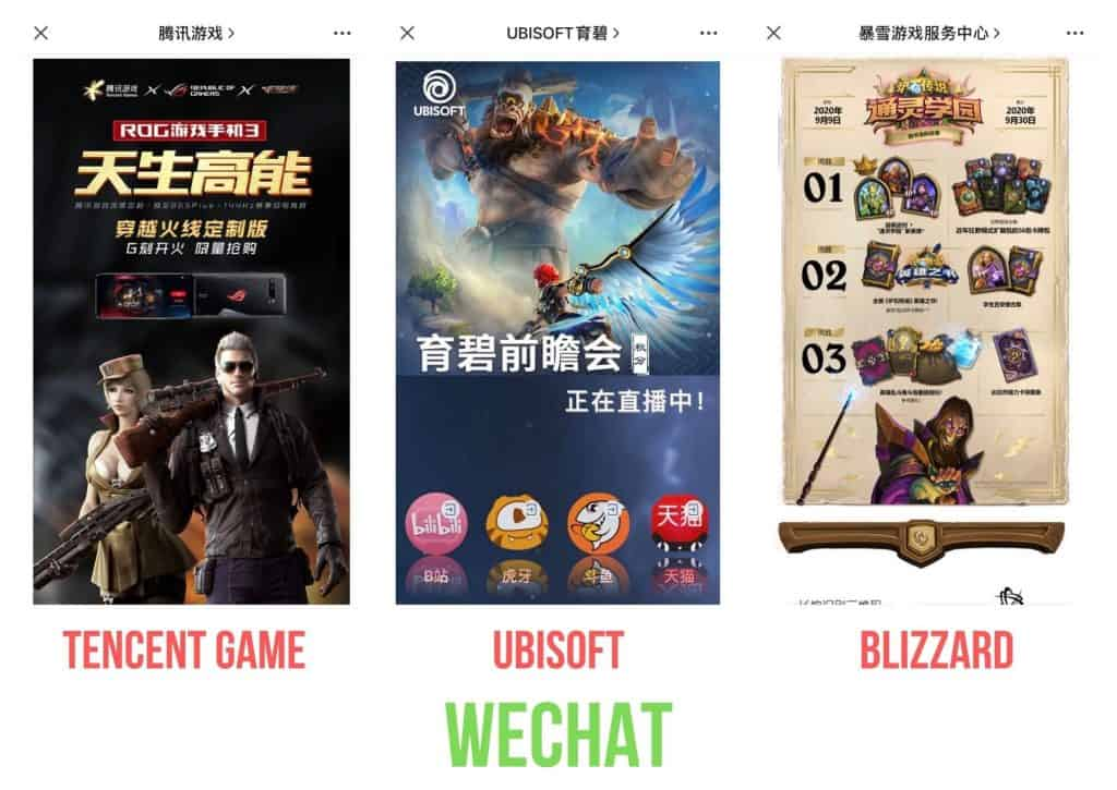 video game companies on wechat