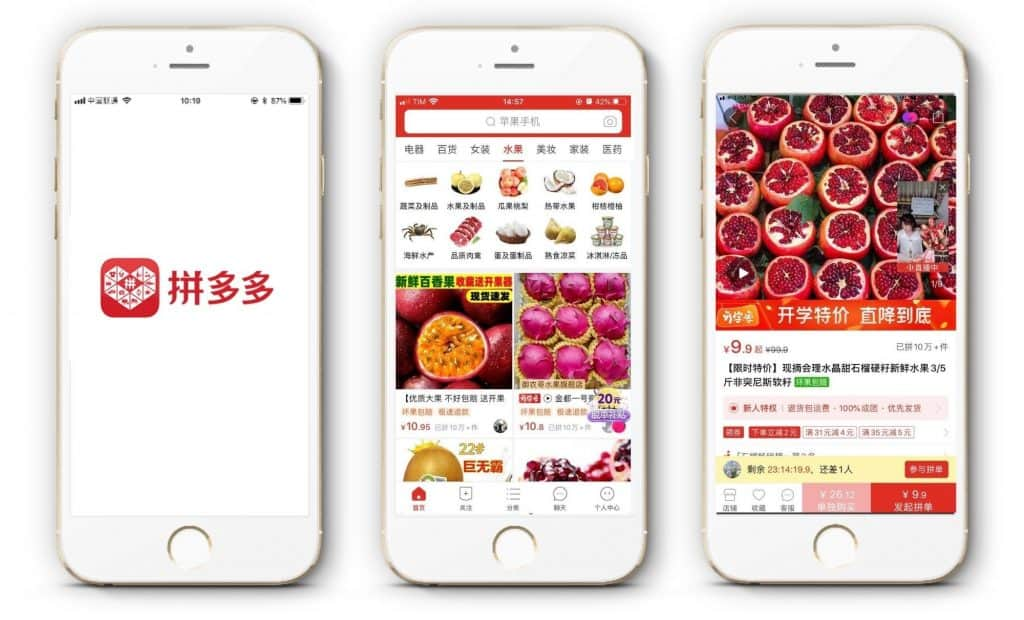 china ecommerce - pinduoduo mobile app - fresh products section